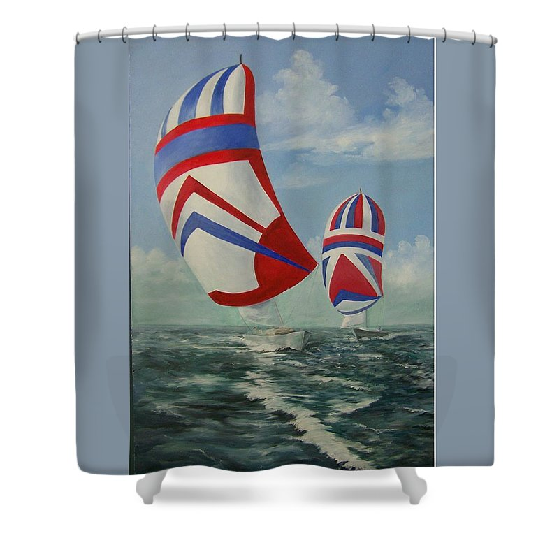 Sailing Ships Shower Curtain featuring the painting Flying The Colors by Wanda Dansereau