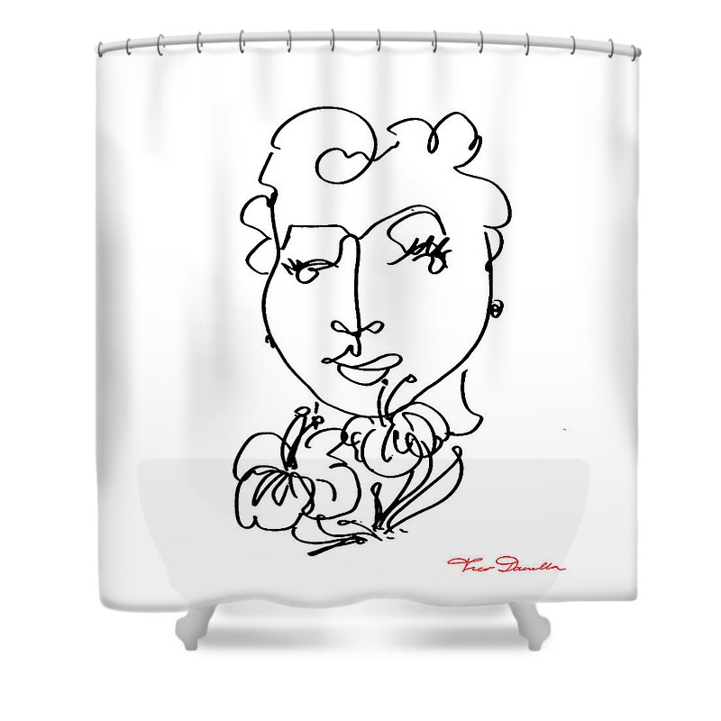 Theo Danella Shower Curtain featuring the drawing Fm 1 by Theo Danella