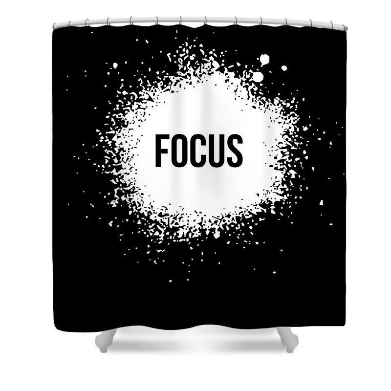 Shower Curtain featuring the digital art Focus Poster Black by Naxart Studio