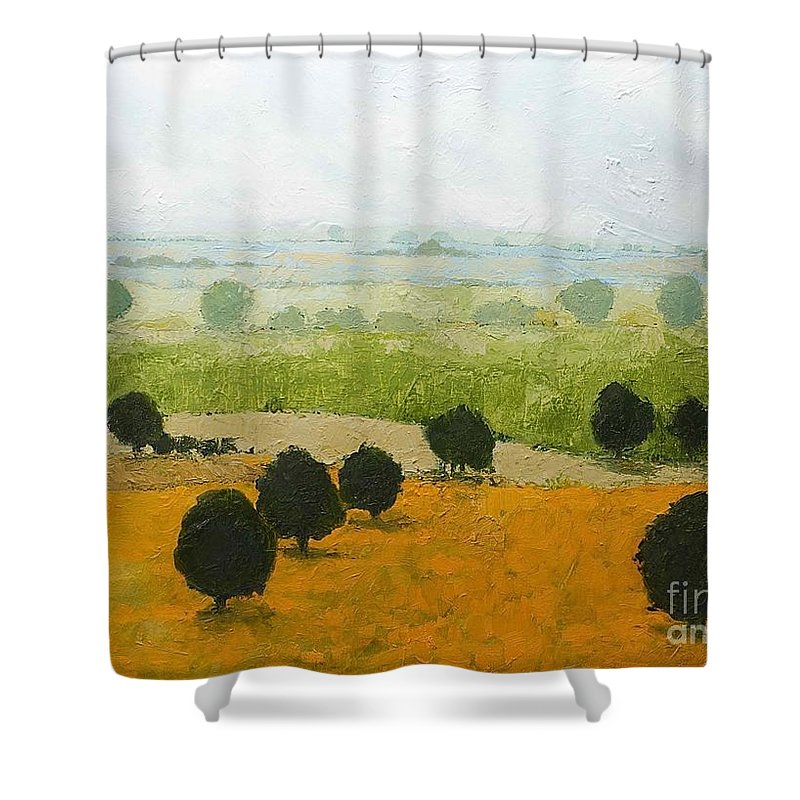 Landscape Shower Curtain featuring the painting Fog Lifting Fast by Allan P Friedlander