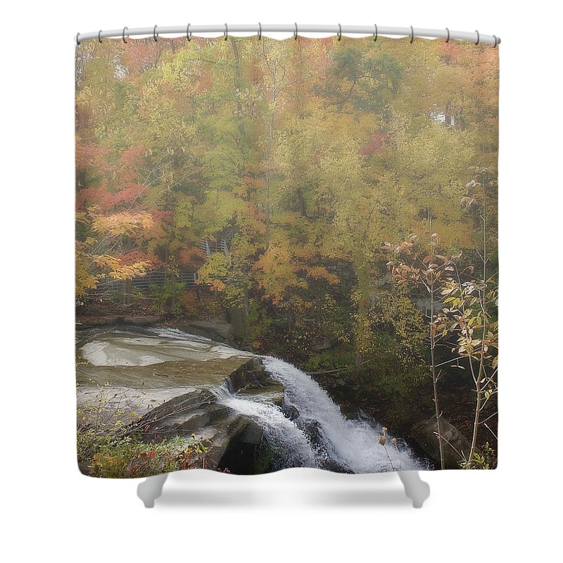 Akron Shower Curtain featuring the photograph Foggy Brandywine Falls by Jack R Perry