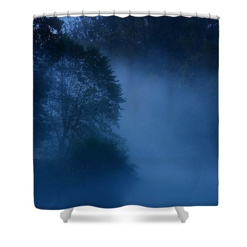 Nature Landscapes Shower Curtain featuring the photograph Foggy Dawn IIi- Holmdel Park by Angie Tirado
