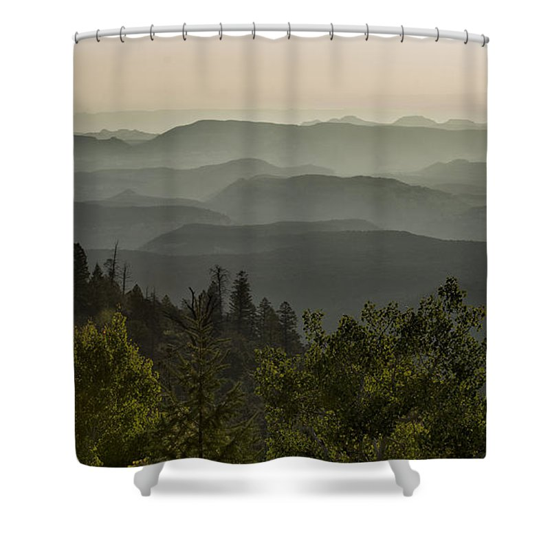 Southwest Shower Curtain featuring the photograph Foggy Morning Over Waterpocket Fold by Sandra Bronstein