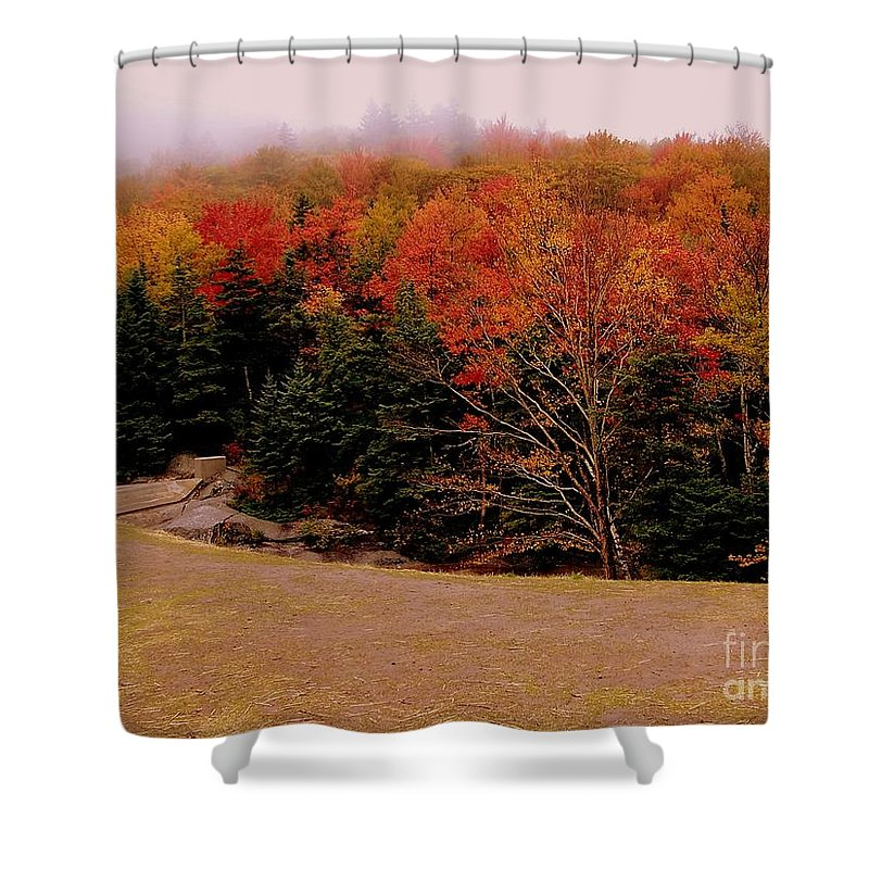 Foggy Shower Curtain featuring the photograph Foggy Mountain Landscape by Eunice Miller