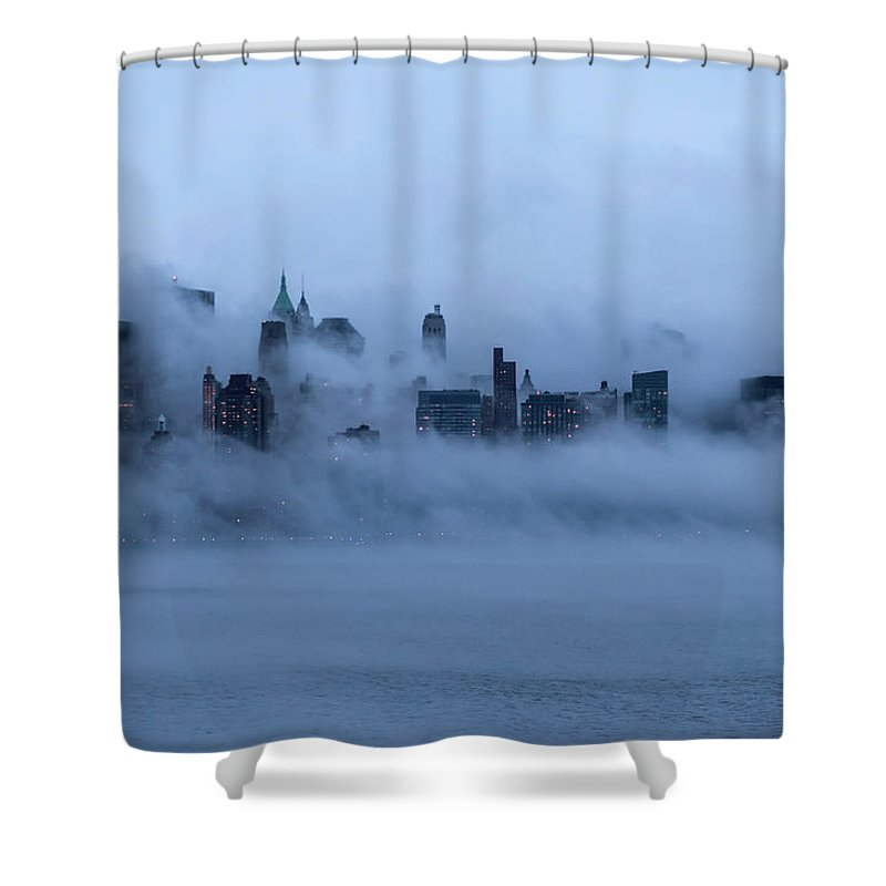 Dawn Shower Curtain featuring the photograph Foggy New York City by Laverrue Was Here