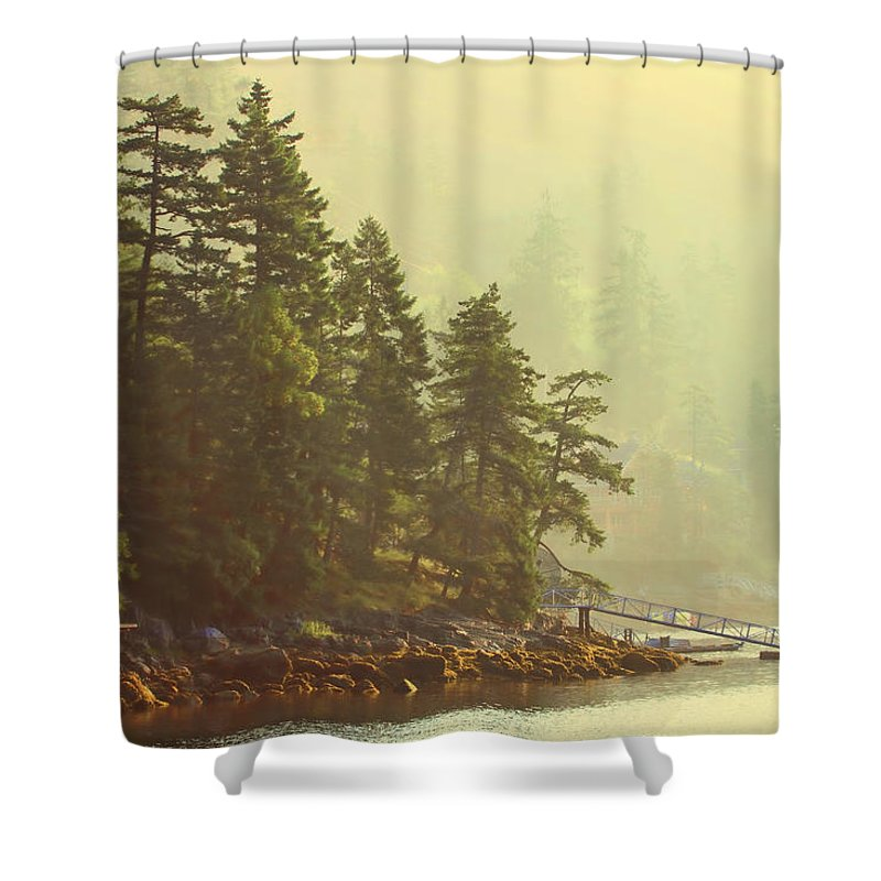 Foggy Ocean Landscape Shower Curtain for Sale by Peggy Collins