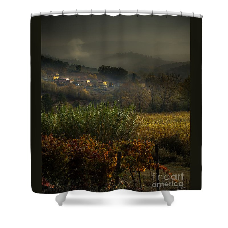 Airy Shower Curtain featuring the photograph Foggy Tuscan Valley by Prints of Italy