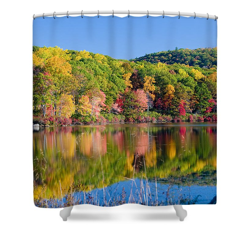Lake Shower Curtain featuring the photograph Foilage In The Fall by Anthony Sacco