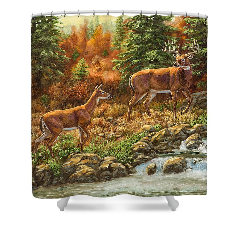 Deer Shower Curtain featuring the painting Whitetail Deer - Follow Me by Crista Forest