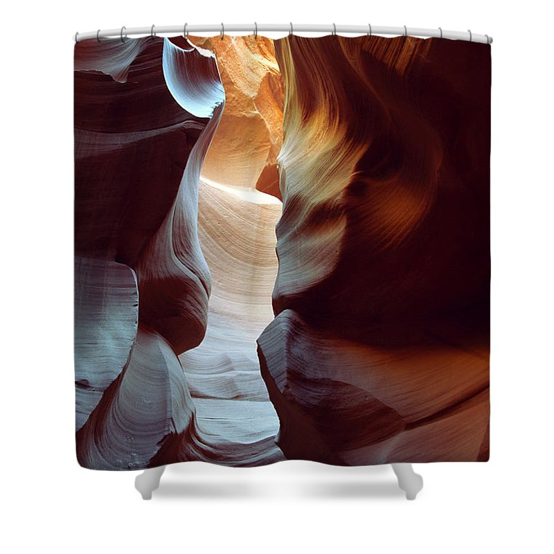 Slot Canyon Shower Curtain featuring the photograph Follow The Light II by Kathy McClure