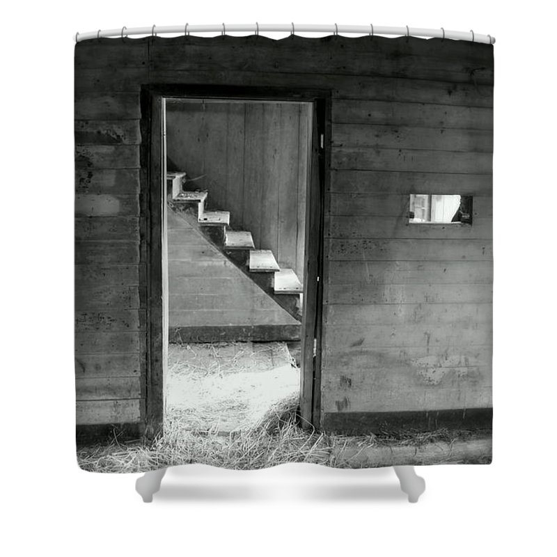 Black And White Shower Curtain featuring the photograph Follow The Light by Karen Wiles