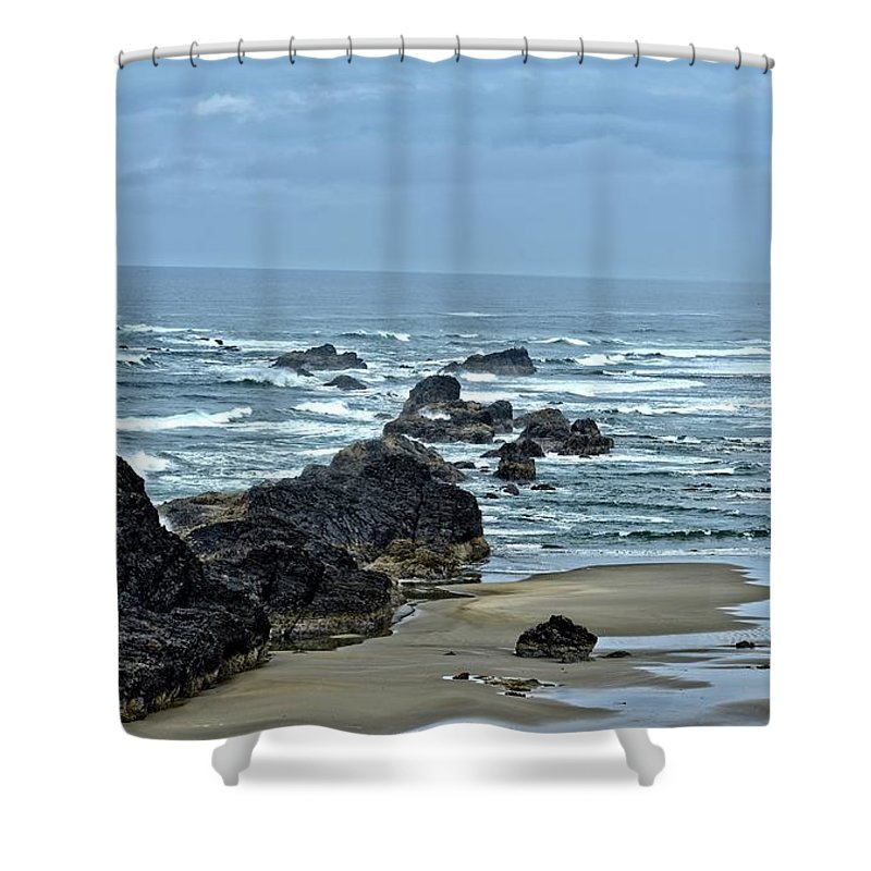 Seal Rock Shower Curtain featuring the photograph Follow The Ocean Waves by Image Takers Photography LLC - Carol Haddon
