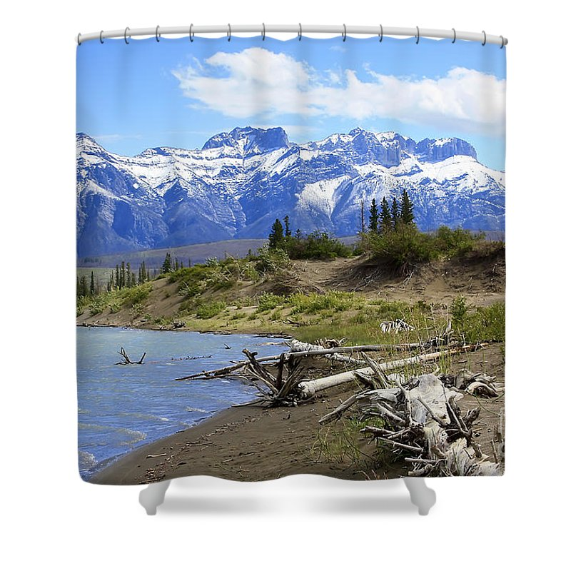 Athabasca River Shower Curtain featuring the photograph Following The Athabasca River by Teresa Zieba