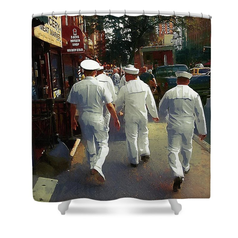 Sailors Shower Curtain featuring the painting Following The Fleet by RC DeWinter