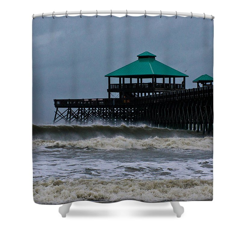 Folly Beach Shower Curtain featuring the photograph Folly Beach Pier During Sandy by E Karl Braun