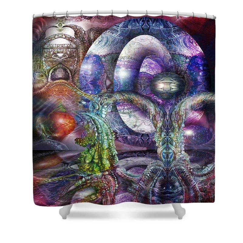 Fomorii Shower Curtain featuring the digital art Fomorii Universe by Otto Rapp