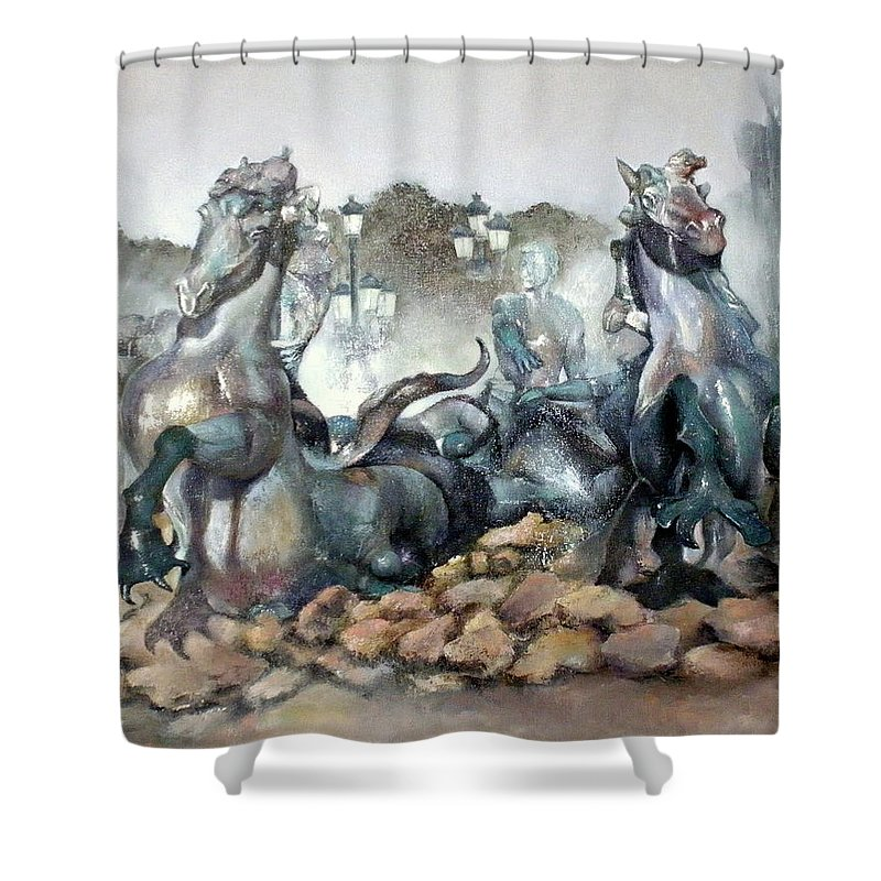 Font Shower Curtain featuring the painting Font Girondins by Tomas Castano