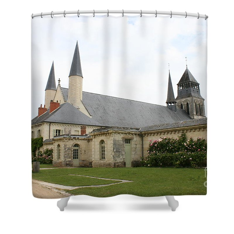 Cloister Shower Curtain featuring the photograph Fontevraud Abbey - France by Christiane Schulze Art And Photography