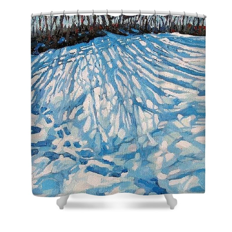 Mackenzie Shower Curtain featuring the painting Foot Prints by Phil Chadwick