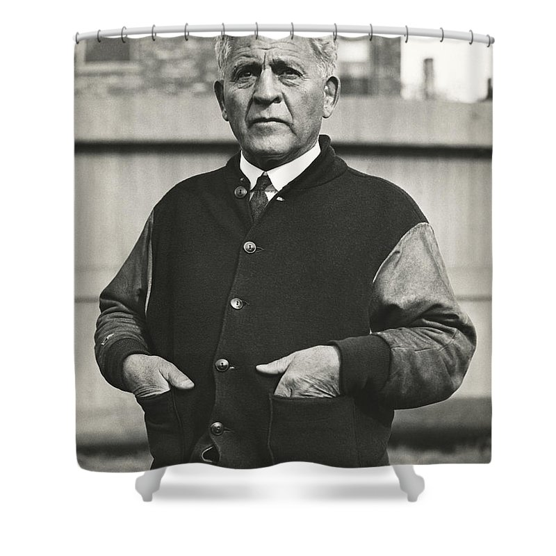 1 Person Shower Curtain featuring the photograph Football Coach Alonzo Stagg by Underwood Archives