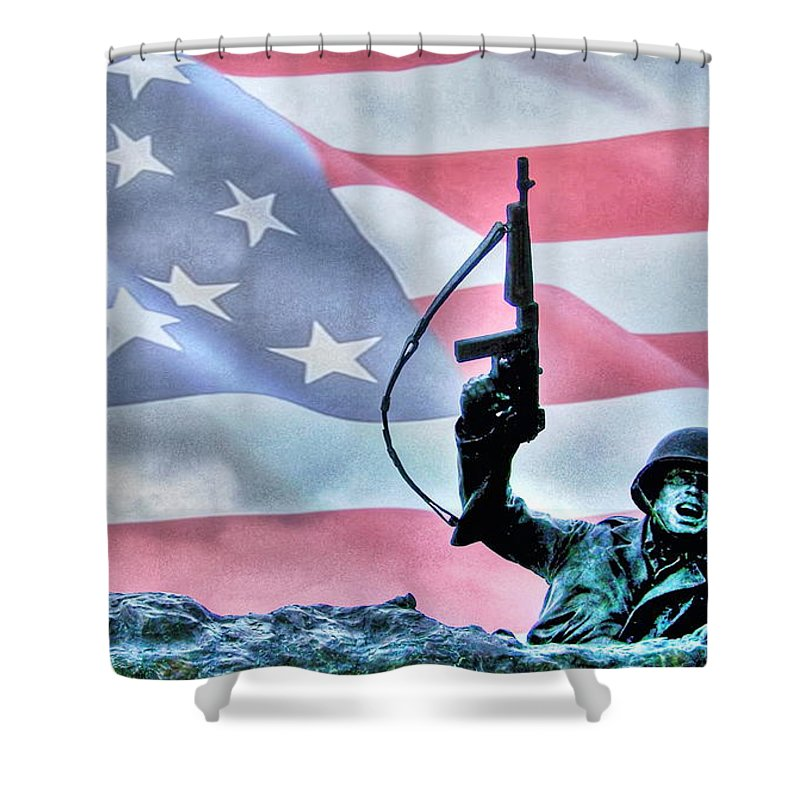 Freedom Shower Curtain featuring the photograph For Freedom by Dan Stone