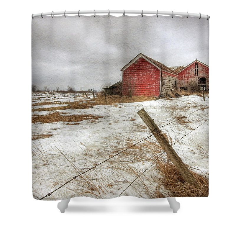 Old Red Barn Shower Curtain featuring the photograph For Sale by Lori Deiter