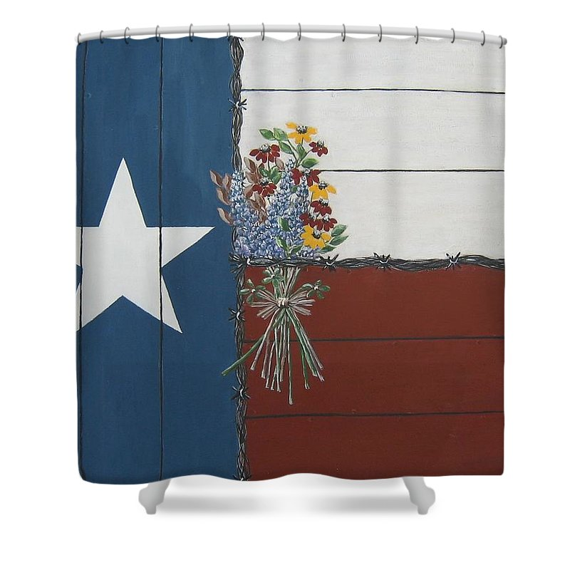 Texas Shower Curtain featuring the painting For The Love Of Texas by Suzanne Theis