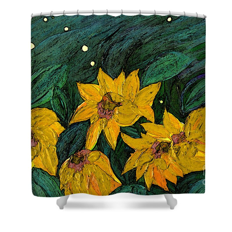 First Star Art Shower Curtain featuring the painting For Vincent By Jrr by First Star Art