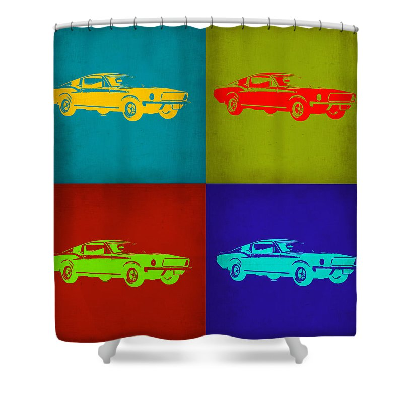Ford Mustang Shower Curtain featuring the painting Ford Mustang Pop Art 1 by Naxart Studio