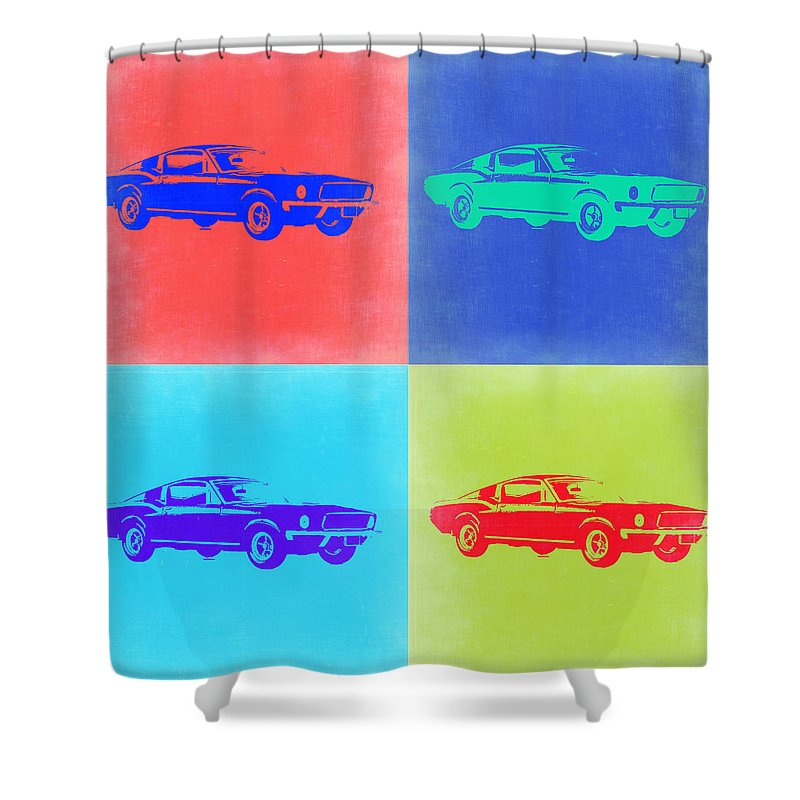 Ford Mustang Shower Curtain featuring the painting Ford Mustang Pop Art 2 by Naxart Studio
