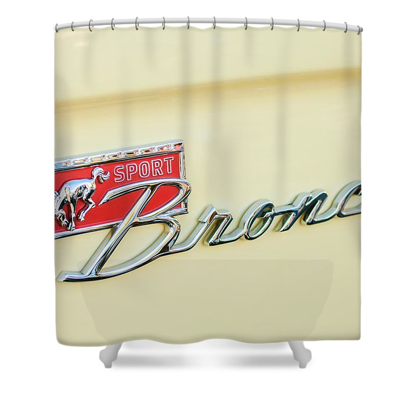 Ford Sport Bronco Emblem Shower Curtain Featuring The Photograph By Jill Reger
