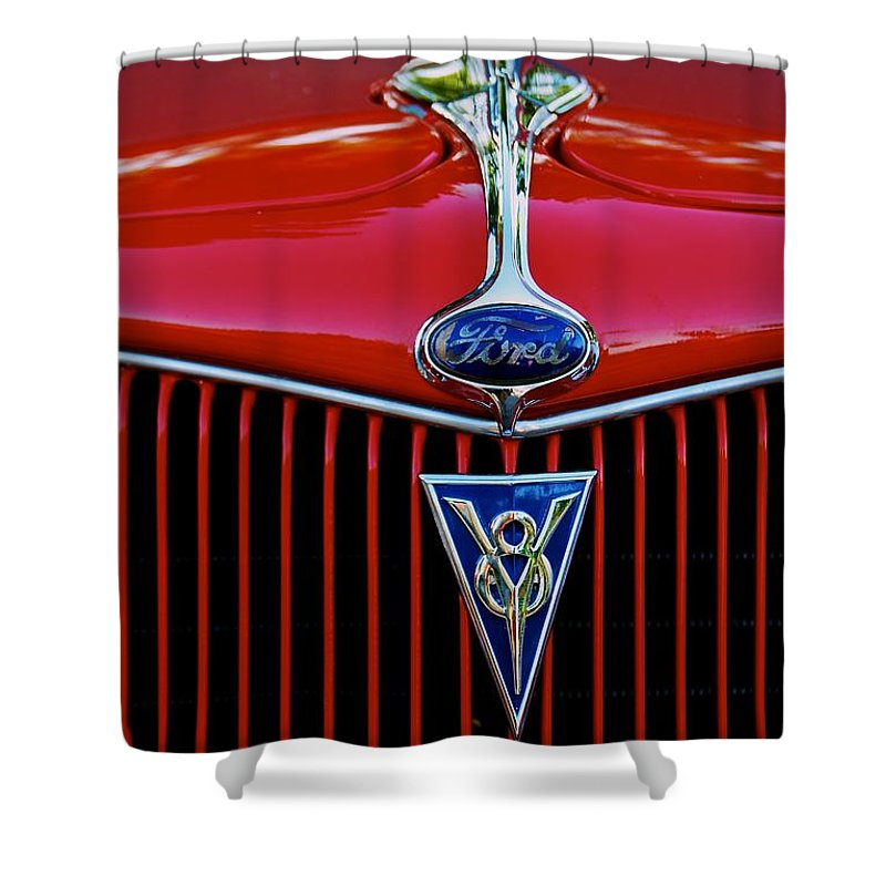 Ford Shower Curtain featuring the photograph Ford's V8 by Eric Tressler