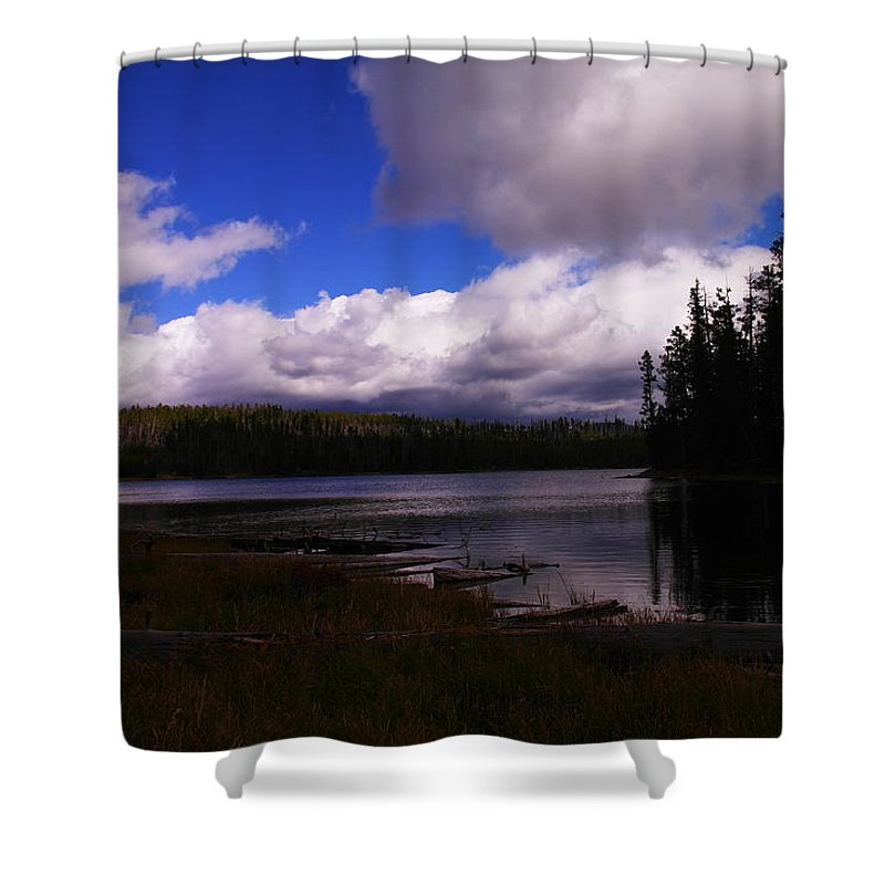 Rivers Shower Curtain featuring the photograph Forest And Clouds by Jeff Swan