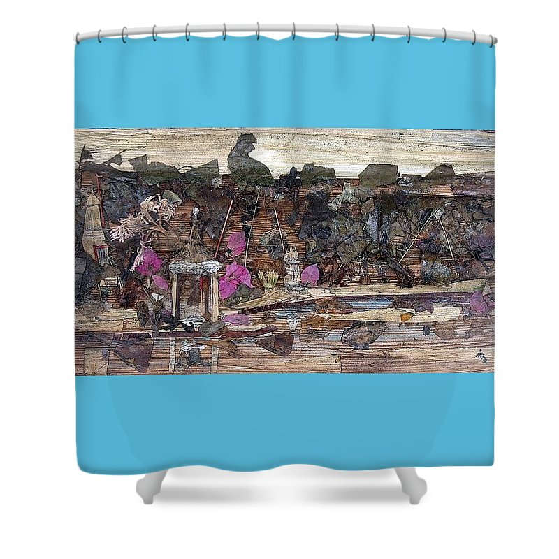 Landscape Shower Curtain featuring the mixed media Forest Behind Temples by Basant Soni