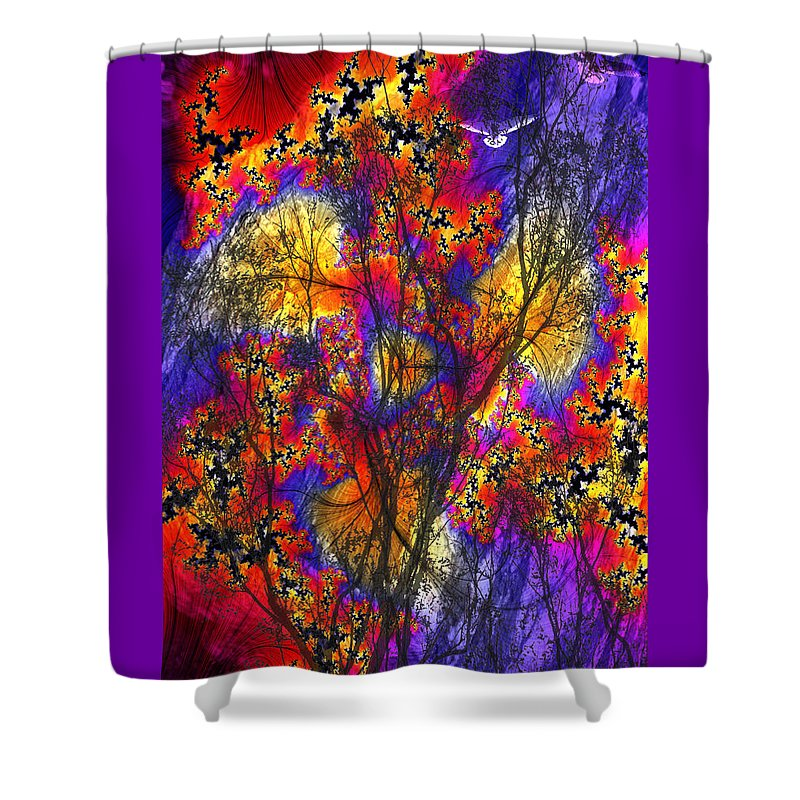Forest Fire Shower Curtain featuring the digital art Forest Fire by Lisa Yount