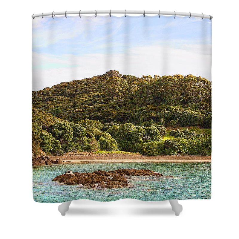 Foreign Shower Curtain featuring the photograph Forested Coast Line by Linda Phelps