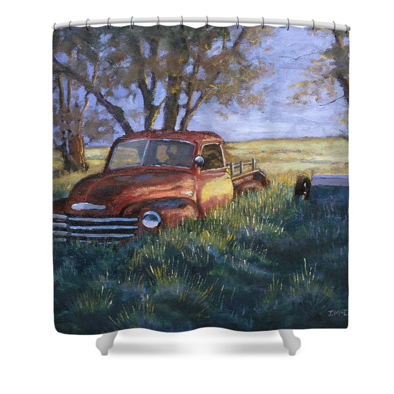 Pickup Truck Shower Curtain featuring the painting Forgotten But Still Good by Jerry McElroy