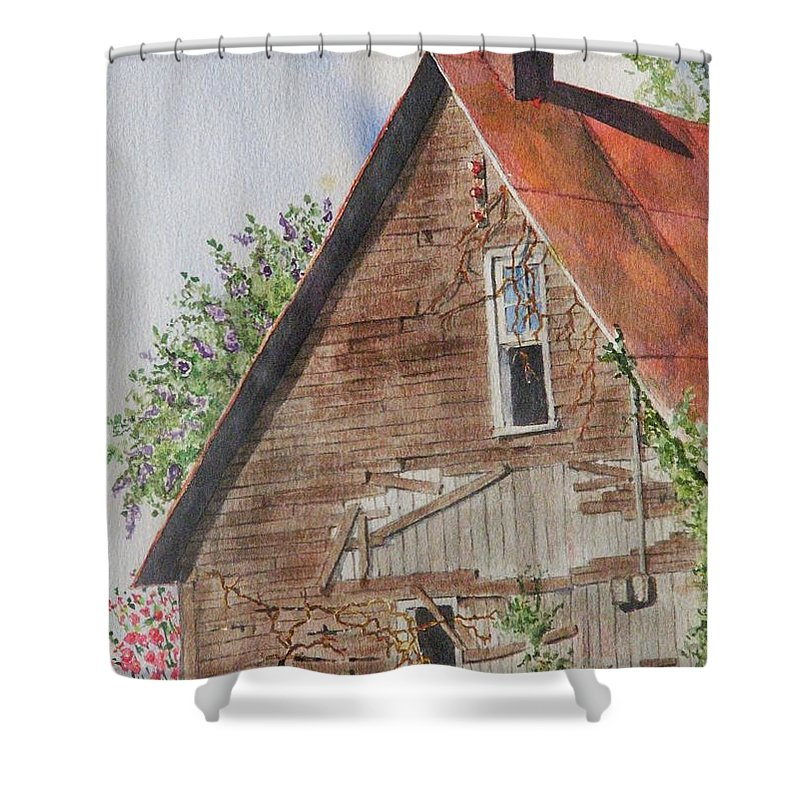 Farm Shower Curtain featuring the painting Forgotten Dreams Of Old by Mary Ellen Mueller Legault