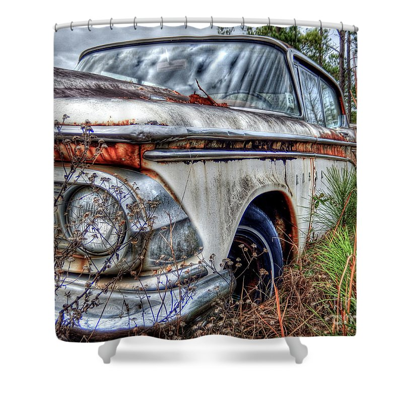 Auto Shower Curtain featuring the photograph Forgotten Edsel by Kelley Freel-Ebner