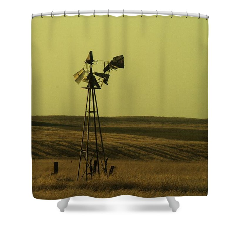 Windmills. Water Shower Curtain featuring the photograph Forlorn by Jeff Swan