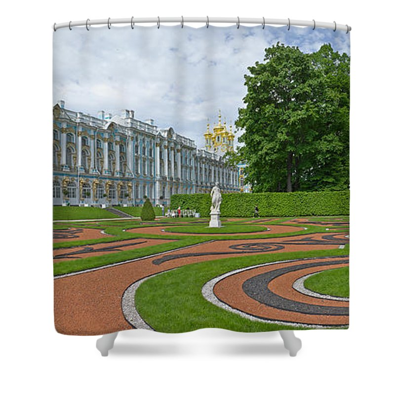 Photography Shower Curtain featuring the photograph Formal Garden In Front Of The Palace by Panoramic Images