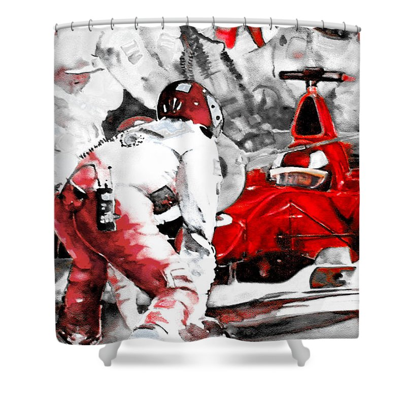 Sports Shower Curtain featuring the painting Formula 1 Bis by Miki De Goodaboom