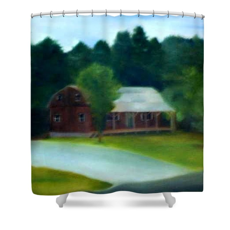 Upstate Shower Curtain featuring the painting Forrest's House by Sheila Mashaw