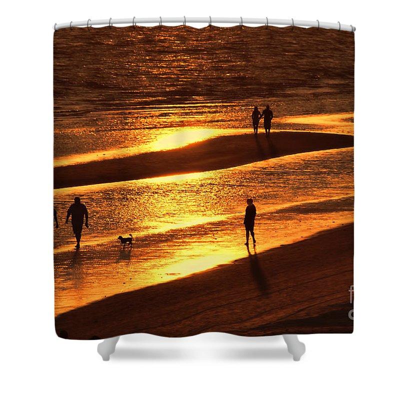Sunset On The Beach Shower Curtain featuring the photograph Fort Myers Beach Sunset by Olga Hamilton