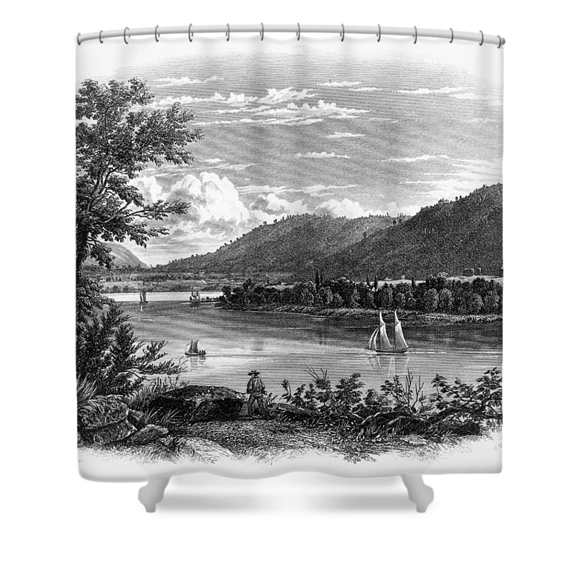 1847 Shower Curtain featuring the painting Fort Ticonderoga Ruins by Granger