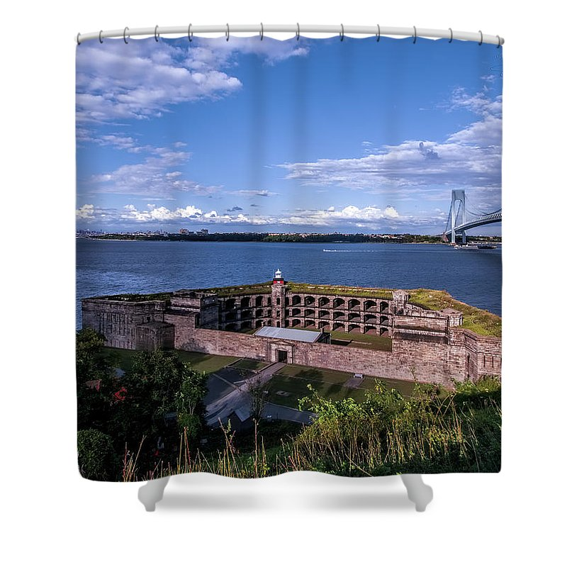 New York Harbor Shower Curtain featuring the photograph Fort Wadsworth by S Paul Sahm