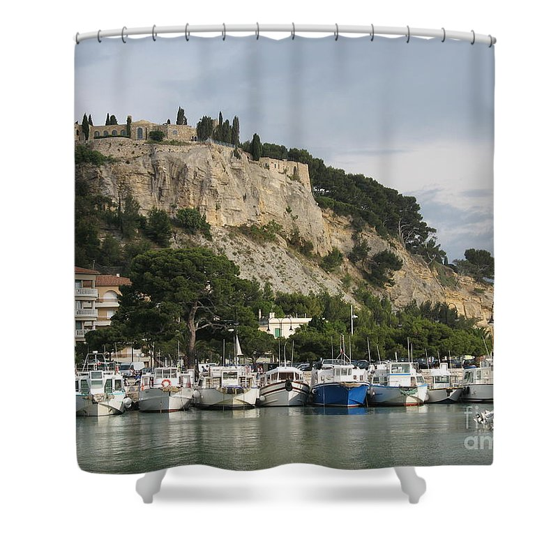 Fortress Shower Curtain featuring the photograph Fortress And Harbor Cassis by Christiane Schulze Art And Photography