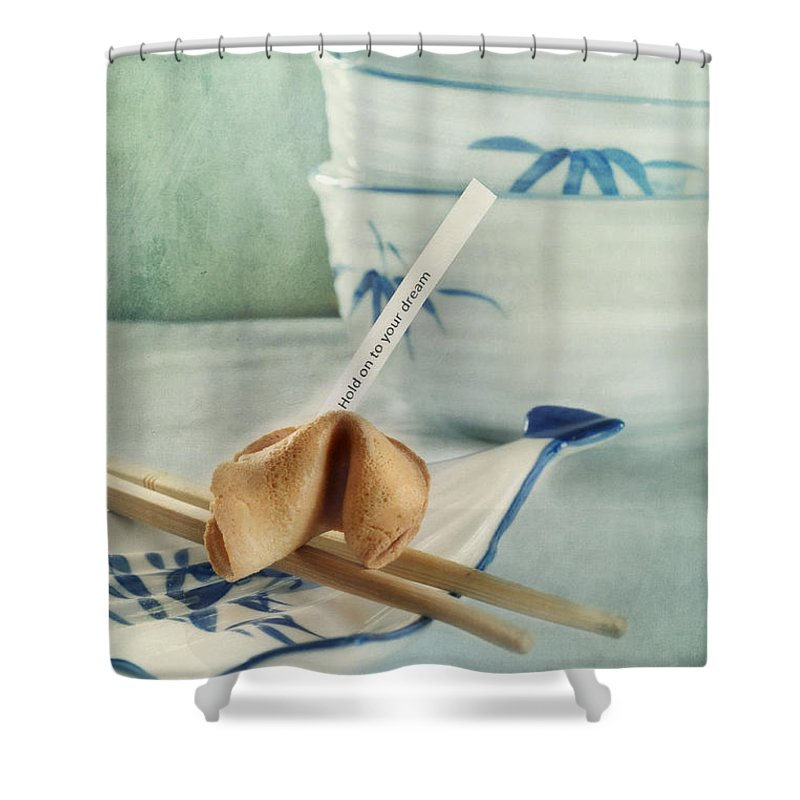 Chinaware Shower Curtain featuring the photograph Fortune Cookie by Priska Wettstein