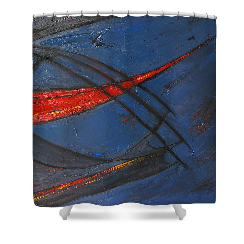 Red Shower Curtain featuring the painting Forward by Patricia Awapara