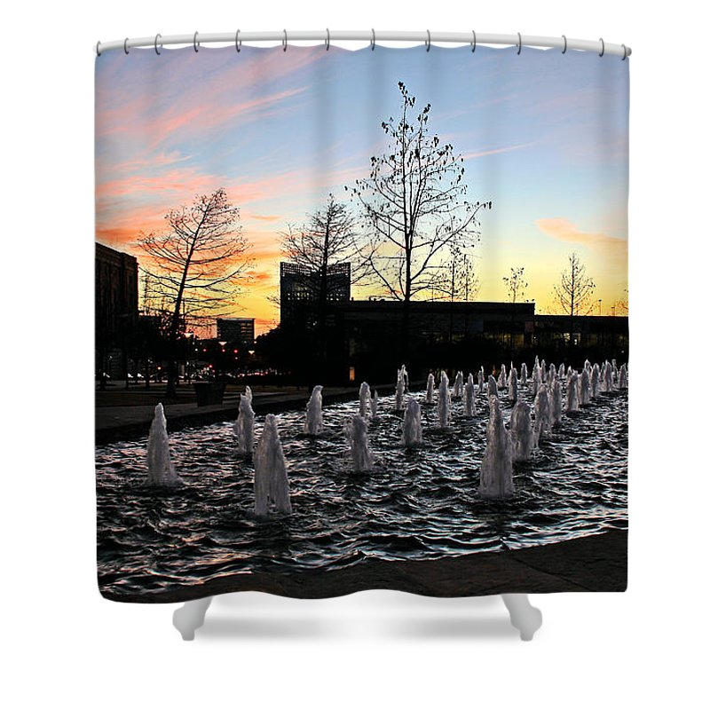 Tarrant County College Shower Curtain featuring the photograph Fountain At Trinity River Campus 1566m by Earl Johnson